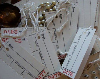 Two Dozen Vintage Antique Promised Dennison 2 Part Unused  Vintage String Tags Great for Weddings