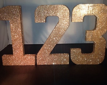 Large Glitter Numbers Table Numbers Party Prop Wedding Numbers Anniversary Numbers Birthday Numbers
