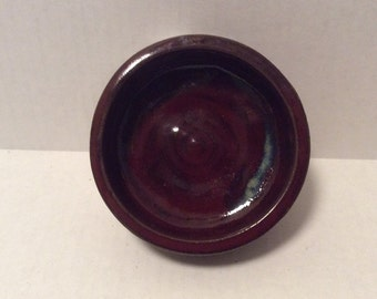 Burgundy red bowl, prep, serving, soap dish, trinkets, handmade, ready to ship, ceramic,  pottery  B100