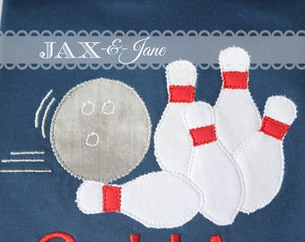 Bowling Ball and Pin Applique Design
