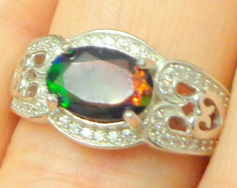 Sz 7.25, Black Welo Opal Ring,Natural Gemstone,Genuine Ethiopian Opal Ring,Pave Sapphire,Red Welo Opal,Red Green Blue Fire,Fashion Jewelry