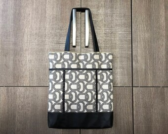 Bag, tote bag, Tote, fabric chart, imitation leather, shoulder, large size, fashion accessory, women, girl, beige, black