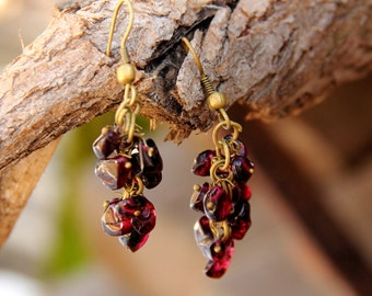 Garnet Jewelry Garnet earring for mom Gifts for best friends cluster earrings January birthstone Jewelry gemstone Jewelry gemstone earrings