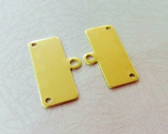 10 Pcs Raw Brass 14 x 25 mm Rectangle Earring 3 Hole Connector - 0.80 mm Thickness ( 20 Gauge )