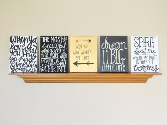 Canvas painting quotes set black gold white handmade