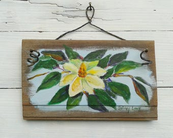 Magnolia painting, magnolia board painting, rustic plaque art, Southern floral art, original magnolia art, Southern magnolia, 5.5x9 inches