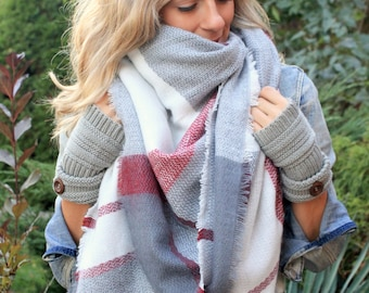 CandyCane Plaid Blanket Scarf, Winter scarf, Blanket scarf, Plaid Scarf, Bridesmaid Scarf, bridesmaids shawls, winter wedding shawl scarves