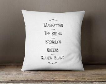 New york pillow cover, new york city pillow,new york cushion, black and white new york pillow, decorative cushion cover,new york cushion