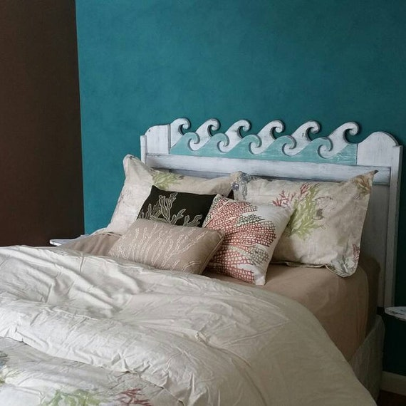 Waves Headboard Queen Size Beach House Furniture Decor by