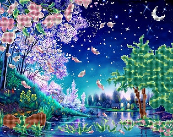 Starlit Night bead embroidery kit, embroidered beaded painting set, DIY wall decor, house warming gift idea