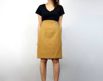 Mustard High Waisted Skirt 80s Yellow Knee Length Skirt Vintage 1980s Pencil Skirt - Small S