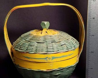 Vintage Childs Hand Painted Wicker Sewing Basket