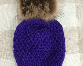 Wool blend hand knitted purple baby hat size 3-6 months fur pom