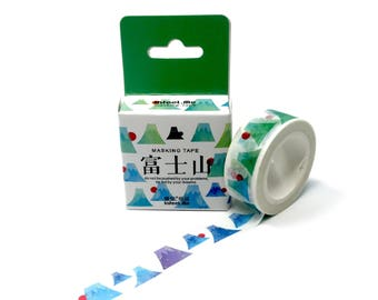 Watercolor Paper Japanese Mountain Washi Tape //  Watercolor Mountain Washi Tape for Bullet Journal, Planners, and Collages // 15mm/7m