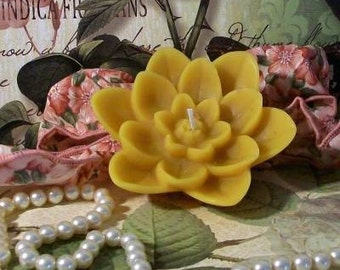2 Beeswax Lotus Flower Water Lily Candles And It Is A Floater As Well