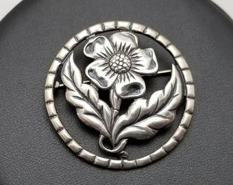 Detailed Sterling Flower Pin