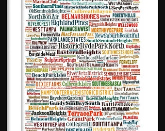 Tampa Map - Typography Neighborhoods of Tampa Poster Print