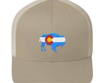 Colorado Flag - American Bison Trucker Cap