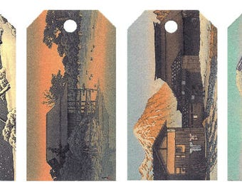 12 Shipping (Gift) Tags Hasui Architecture 008