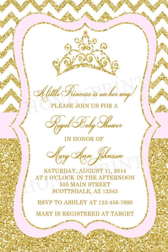 Princess Baby Shower Invitation Tiara Crown Baby Shower