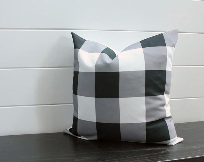 Pillow cover black white buffalo check 18 inch 18x18 modern accessory home decor nursery baby gift zipper closure canvas ready to ship