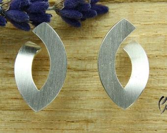 Earrings Silver 925 /-, open Navette, large, bar-Matt