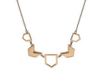 Chevron necklace geometric - Gold silver chevron jewelry, Chevron necklace gold silver
