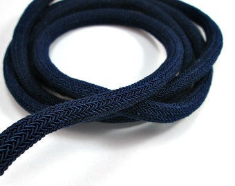 Midnight blue braided silk cord, 8mm bookbinding rope, thick cord, 1m