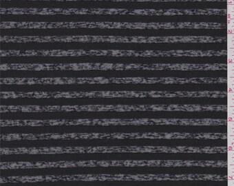 Black Burnout Stripe T Shirt Knit, Fabric By The Yard