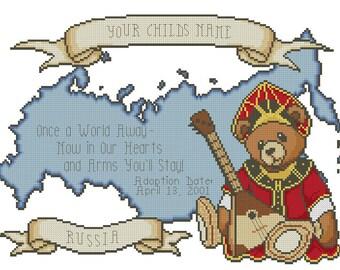 Russia Girl Adoption Cross Stitch Design