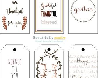 Thanksgiving printable tags / Thanksgiving printables / Thanksgiving Tags / DIY Printables