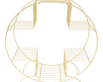 Mid-Century Modern Gold Metal Plant Stand || Atomic Era Round Multi-tier Indoor/Outdoor Versatile Stand Display