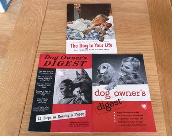 """Lot of Two """"Dog Owners Digest"""" and """"The Dog in Your Life"""" booklet by Friskies"""