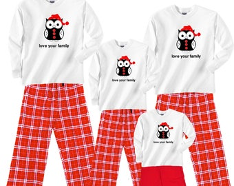 Holiday HOOTER Owl Family Matching Pajamas (adults) and clothing playwear sets (kids) - Great Family Gift Idea (300)