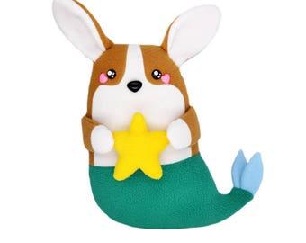 Corgi mermaid soft plush toy plushie pillow cushion novelty dog siren sea creature handmade