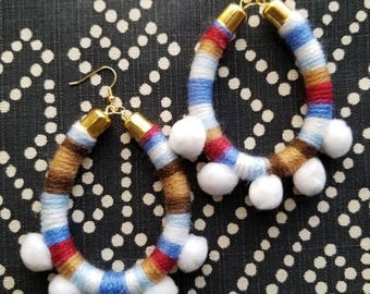 Pom Pom Hoops // White, Blue, Brown, Red