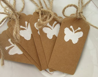 Rustic, Butterfly Tags, handpainted, set of 6 or 12, birthday tags, wedding tags, baptism tags, favor tags, gift tags, bridesmaid, butterfly
