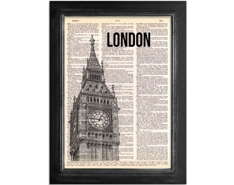 London's Big Ben - Dictionary Art Print on Upcycled Vintage Dictionary Paper - 8x10.5