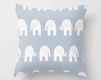 Blue Pillow cover Elephant Pillow Cover Decorative Pillow Cover Nursery Pillows Size Choice