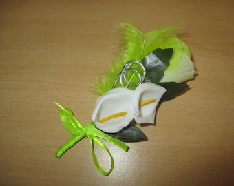 Brooch-wedding - lime green and white boutonniere