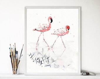 Flamingos art print, pink Flamingo watercolor print, flamingo art, tropical art, birds art, coral, salmon pink, wild life art, thejoyofcolor
