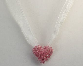 Necklace, Pink Swarovski Crystals 3D Puffy Heart Beaded Pendant on Ribbon Necklace