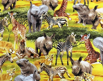 Gold Safari Scenic Jungle Animals Timeless Treasures Fabric #3487 By the Yard