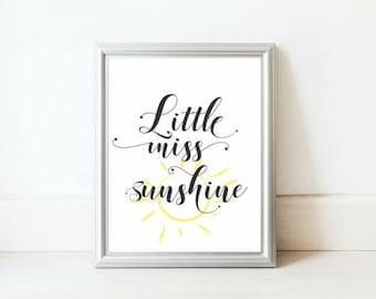 Sun Nursery Print / Little Miss Sunshine / Girl Toddler Room Decor / Sunshine Printable Art / Girls Bedroom Poster / Little Miss Prints