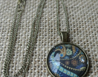 Deep Sea Paisley Pendant Necklace