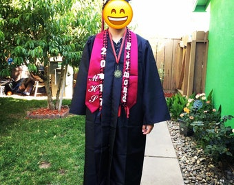 "Graduation lei with name and year ""2018"""