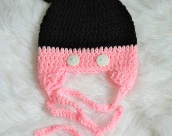 Crochet Minnie Mouse Inspired Newborn Hat! Photo Prop!