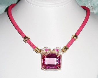 "Pink Topaz Necklace Natural 57ct Pink Topaz gemstone,  Stingray Pink Polished Exotic Leather 18 1/2"" Necklace"