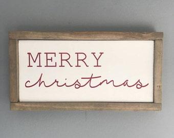 Merry Christmas Wood Sign with Wood Frame- Christmas Sign