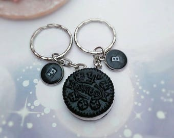 Set of personalised keyrings, Oreo,  Miniature food, bff, couple, food lover, gift her, for him, for baker, food accessory collection